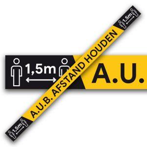 Vloertape: afstand houden - tapijtvloer (geel)