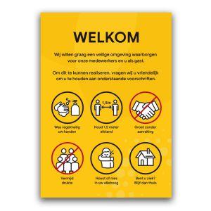 Welkomstpaneel: voorschriften (geel)
