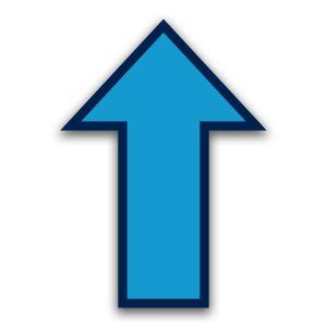 Vloersticker pijl - gladde binnenvloer (blauw)