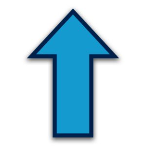 Vloersticker pijl - tapijtvloer (blauw)