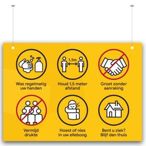 Plafondbord: voorschriften - excl. ophangsysteem (geel)