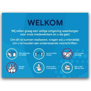 Welkomstbord: voorschriften (blauw)