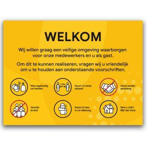 Welkomstbord: voorschriften (geel)