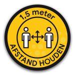 Vloersticker cirkel: afstand houden - buitenvloer (geel)