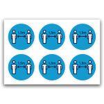 Pictogramstickers: afstand houden (blauw)
