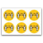 Pictogramstickers: afstand houden (geel)